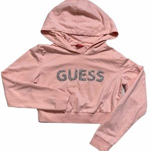 GUESS Embellished Cropped Hoodie